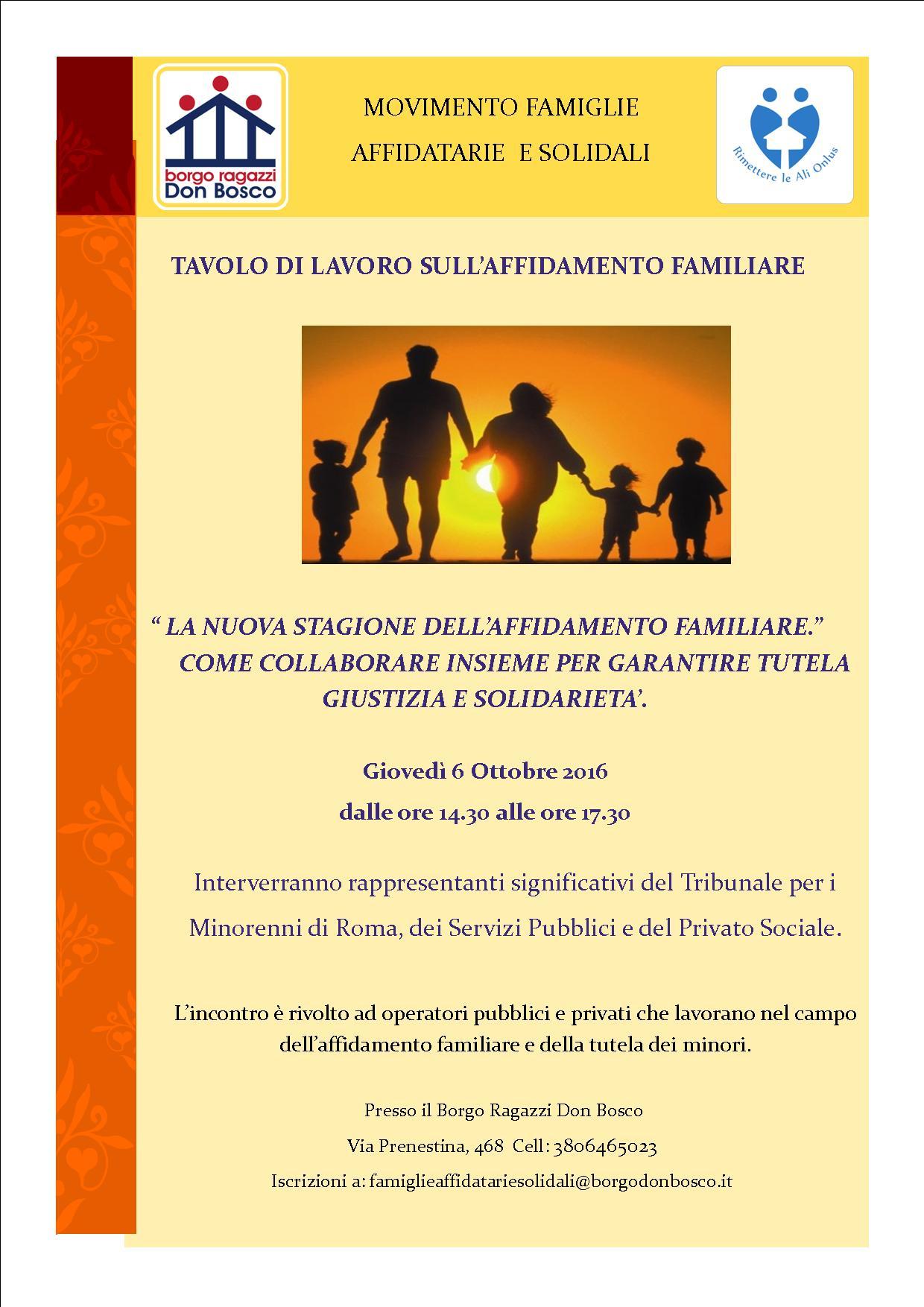 Il 6 ottobre ci sarà il tavolo di lavoro sull'affidamento familiare