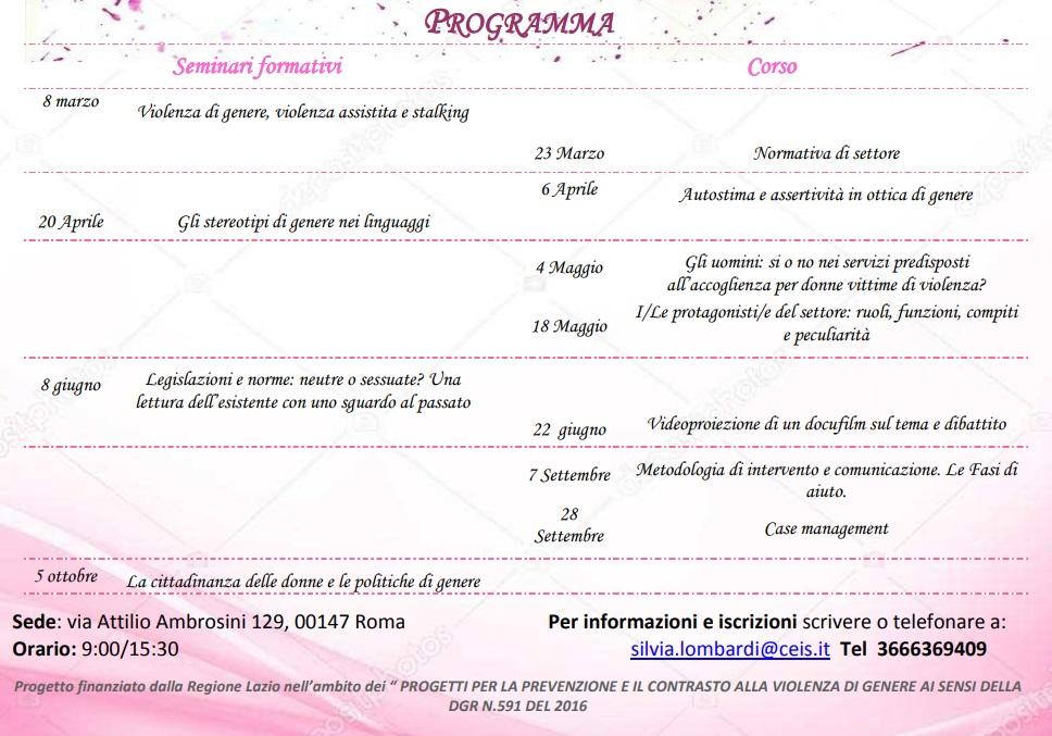 Il programma del progetto Inchiostro Rosa